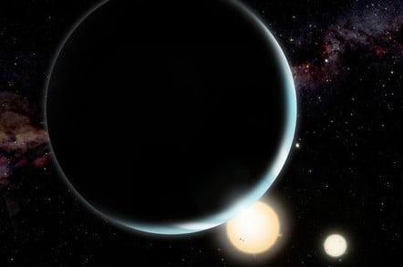 An artist's conception of Kepler-34b which orbits a double-star system
