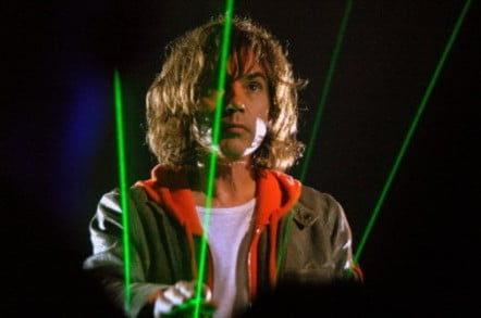 Jean Michel Jarre performs (green lasers in background). Photo by Daniele Dalledonne
