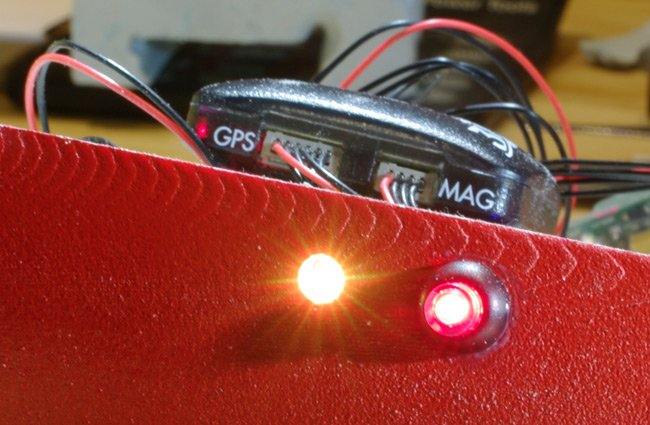 The Pixhawk safety switch and external LED mounted on the Vulture 2 fuselage