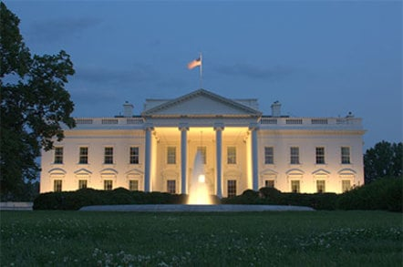 Photo of the White House at dusk