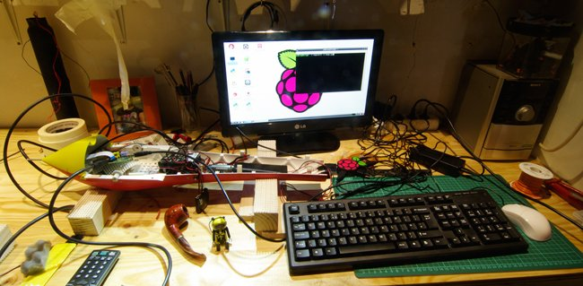 The Vulture 2 and Pi set-up on the workbench