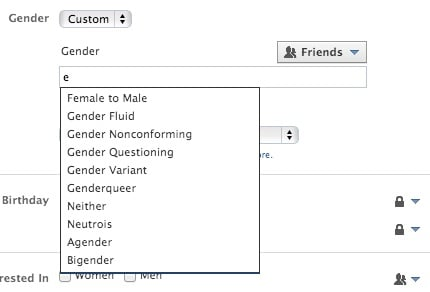 Facebook's new gender options