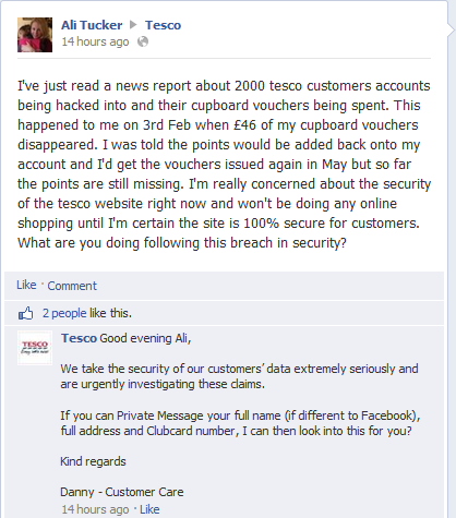 Post on Tesco Facebook page about account hack