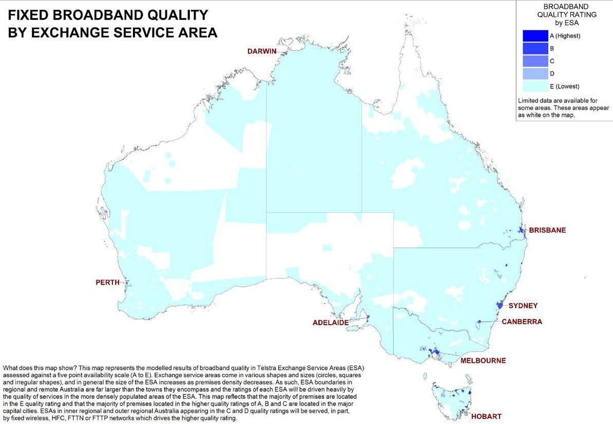 Fixed broadband quality by service area