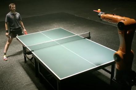 Timo Boll faces the Agilus robot at ping pong. Credit: KUKA