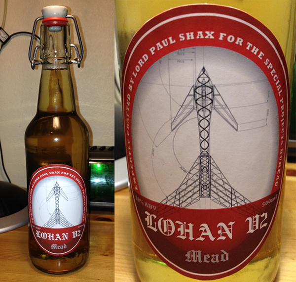 A bottle with a mocked-up V2 mead label