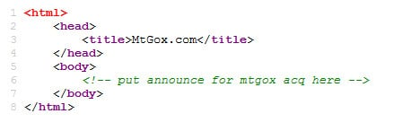 Mt Gox homepage source