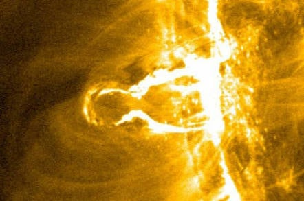 Coronal mass ejection: A close up of a sloar flare erupting from the Sun's surface. Pic: NASA