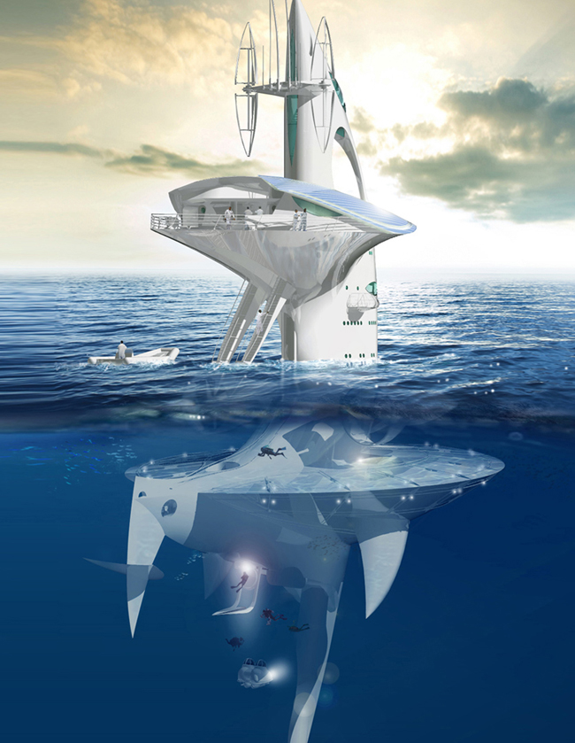 Artist's impression of the SeaOrbiter afloat
