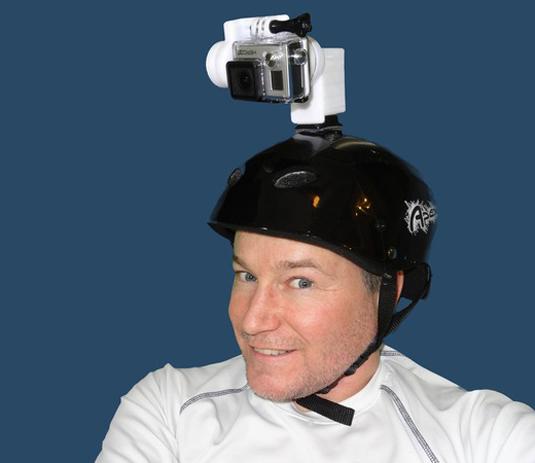 Stuart Smith models a 2-axis, helmet-mounted Stubilizer