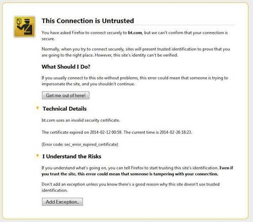 BT\'s IPv6 EXPIRED security certificate left to rot on its website ...