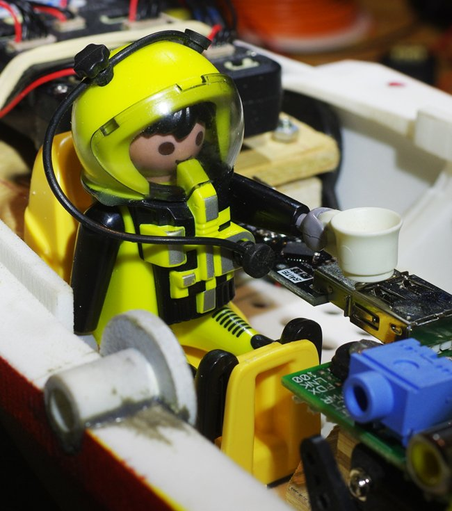 The Playmonaut in his seat aboard the Vulture 2