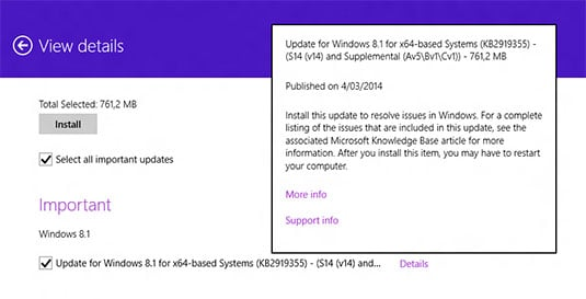 Screenshot showing the leaked packages for Windows 8.1 Update 1