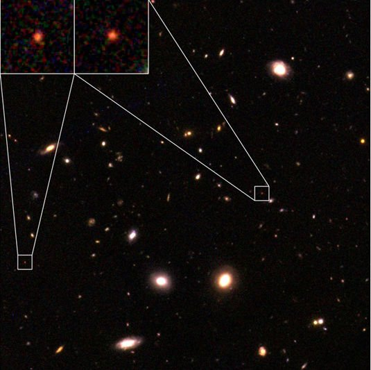 Two of the 15 ancient, mature galaxies found in the Chandra Deep Field South, as imaged by the Hubble Space Telescope
