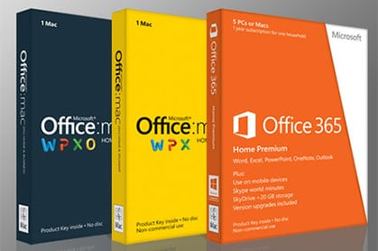 Photo of boxes of Microsoft Office for Mac