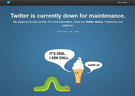 Screenshot of Twitter outage error message