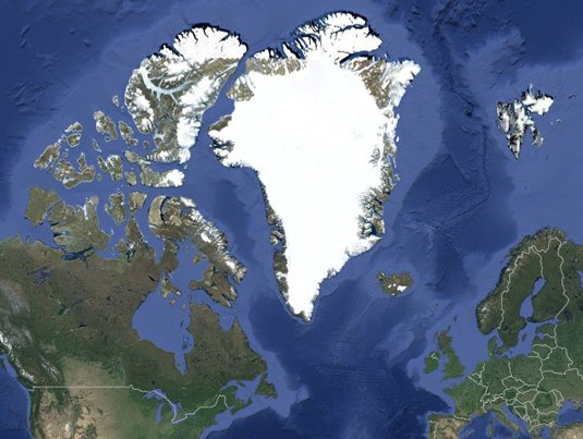 Satellite image of Greenland, North America, and Wester Europe