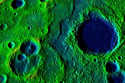 A long collection of ridges and scarps on the planet Mercury, stretching over 540km. The colours correspond to elevation - yellow-green is high and blue is low.