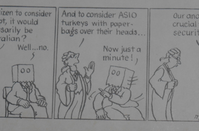 "Matthew Martin's ""turkeys"" cartoon, 1983"