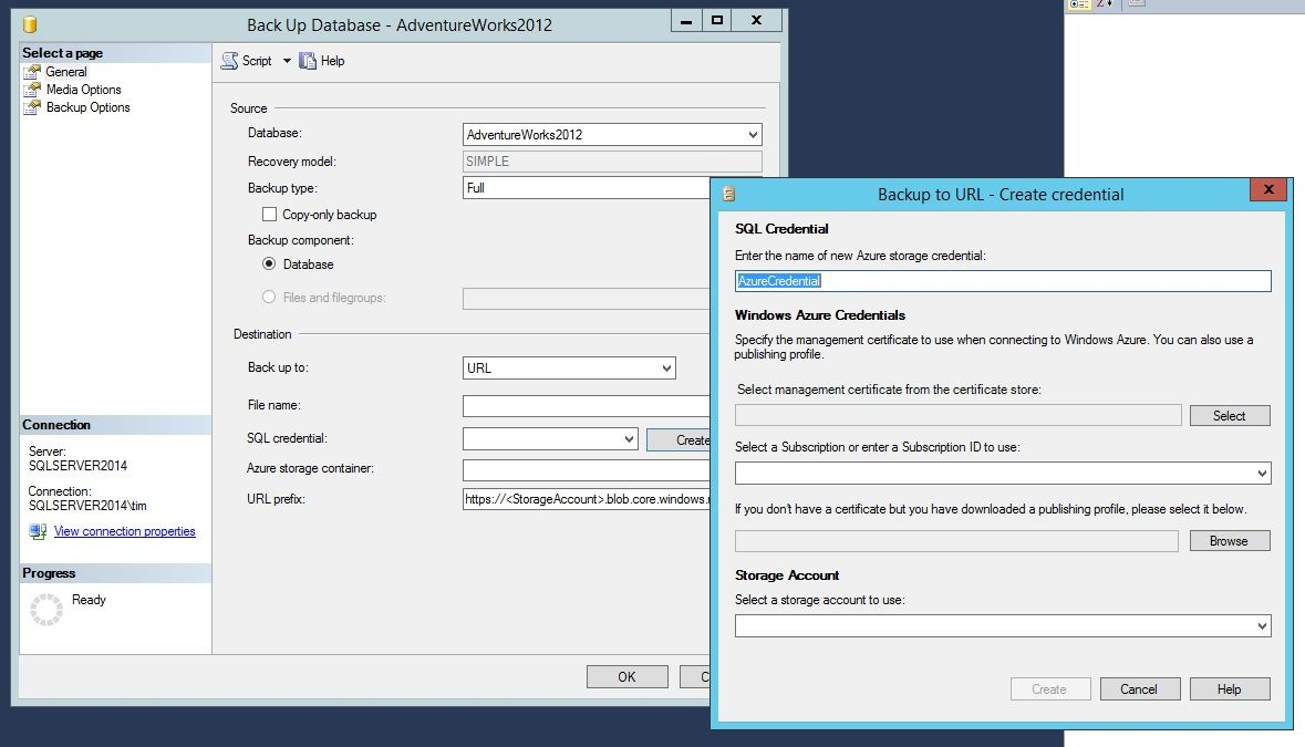 SQL Server 2014 Azure back up