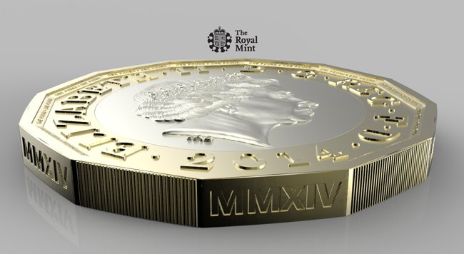 An edge view of the new pound coin. Pic: The Royal Mint