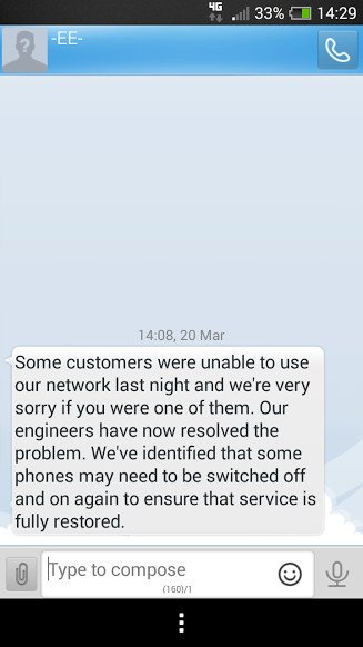 Purported EE text telling customer to turn phone off and on again