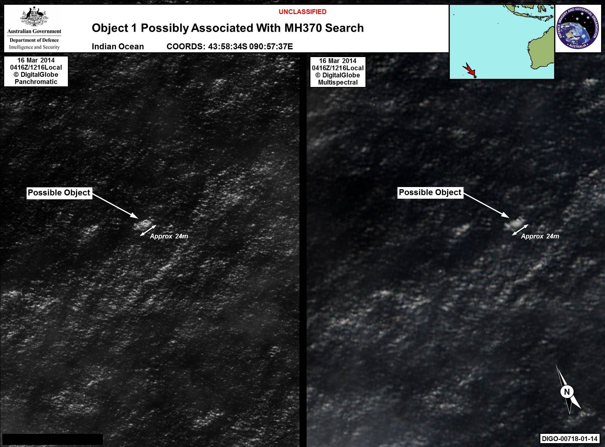 Satellite image of possible MH370 debris
