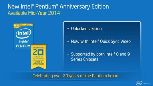 Intel presentation slide: Pentium Anniversary Edition