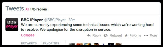 BBC iPlayer Twitter feed confesses to technical problems in recent days