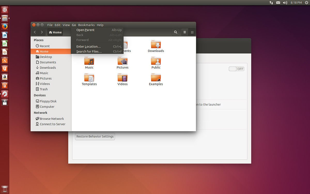 Ubuntu 14.04 menus in window