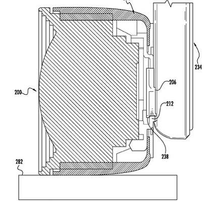 Apple patent illustration for bayonet camera-lens attachment for iOS devices