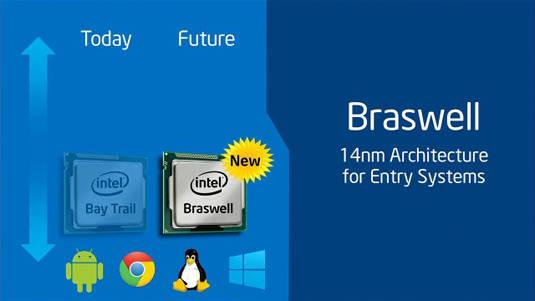 Slide from Intel Developer Conference keynote in Shenzhen, China: Braswell