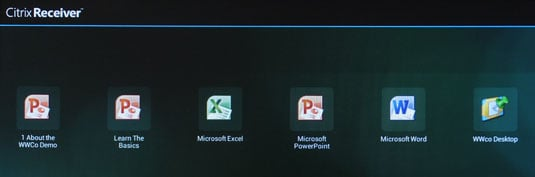 Citrix Receiver shows familiar apps, but the demo set-up didn't work