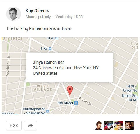 Screenshot of Kay Sievers' Google+ status update