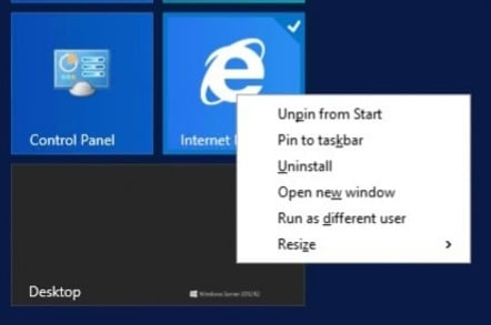 Windows Server 2012 tiles gain some right click action