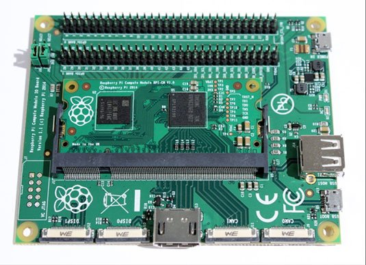 Photo of the Raspberry Pi Compute Module I/O Board