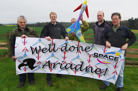The LOHAN team poses with the finished spaceplane