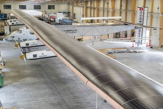Solar Impulse 2 in hanger