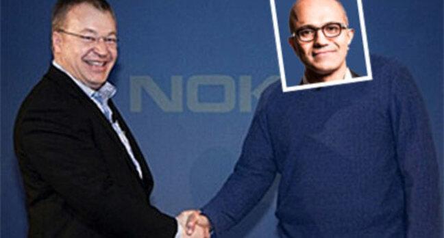 Fake photo of Satya Nadella shaking hands with Stephen Elop