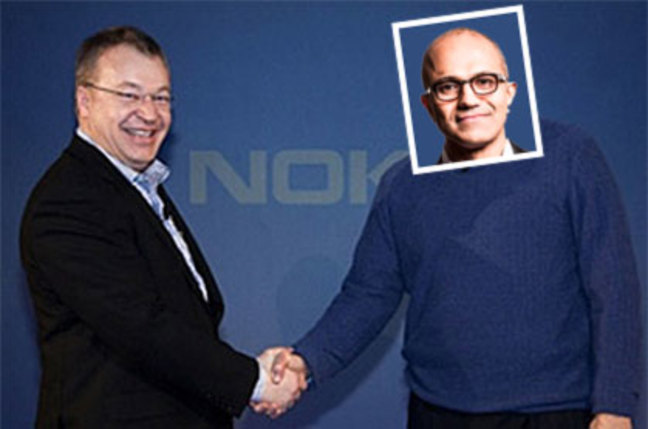 Fake photo of Satya Nadella shaking hands with Stephen Elop