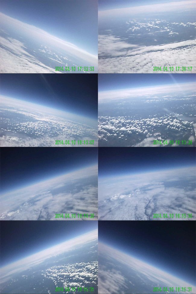 Montage of stills from the DBcam on the Punch test flight