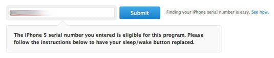 Screenshot of Apple's 'iPhone 5 Sleep/Wake Button Replacement Program' page showing that the serial number entered qualifies the iPhone for repair