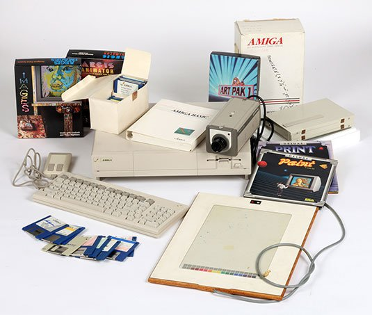 Photo of Andy Warhol's original Amiga equipment