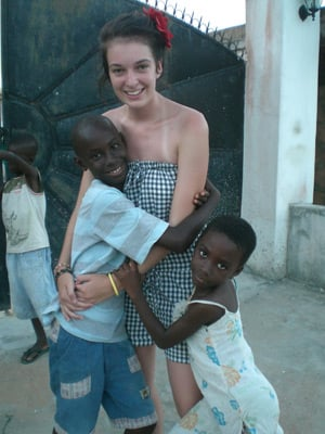 Jemma Berwick with two African kids