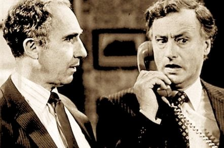 still from famous UK '80s political comedy Yes Minister