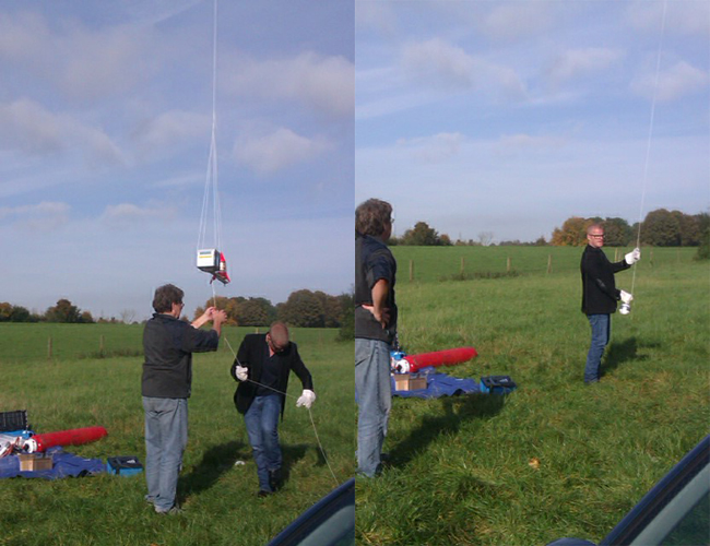 Two stills of Blumenthal launching the payload