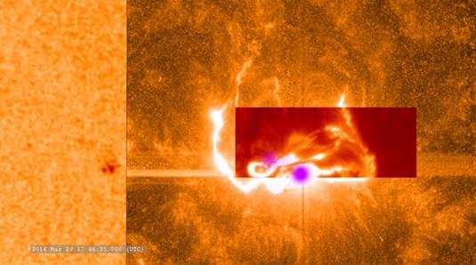 A combination image of the solar flare