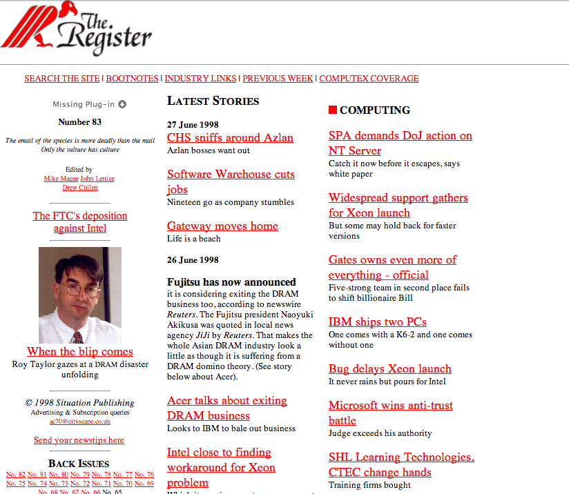 The Reg from June 27, 1998, retrieved from Archive.org's Wayback Machine