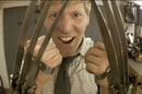 Colin Furze joyfully showing off his fully retractable Wolverine claws