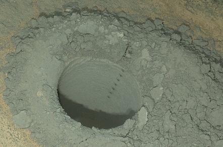 Curiosity Mars rover's latest hole in Mars